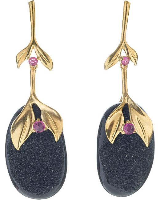 Annoushka | Black Drusy 18ct Yellow-gold, Onyx And Ruby Drop Earrings | Lyst