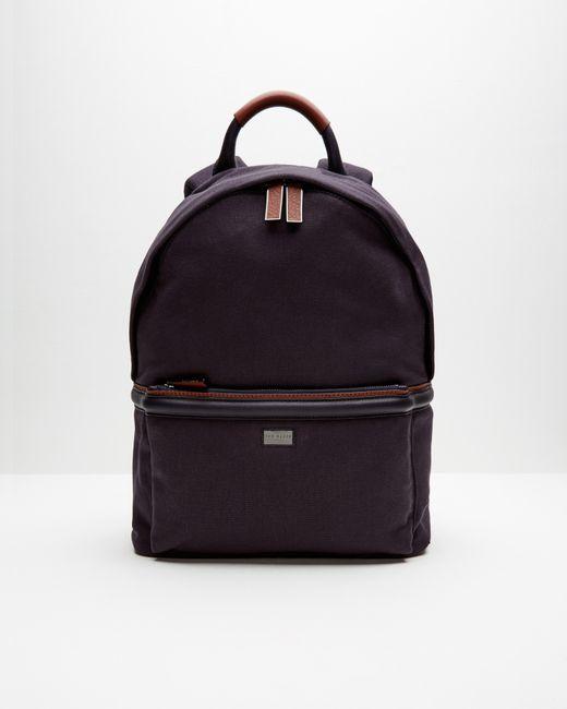 ted baker canvas and leather trim backpack in blue for men. Black Bedroom Furniture Sets. Home Design Ideas
