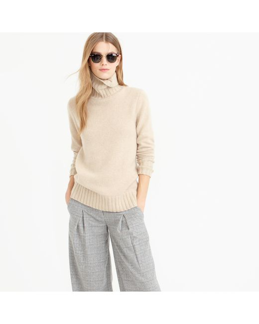 J.Crew | Natural Italian Cashmere Chunky Turtleneck Sweater | Lyst