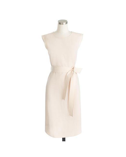 J.Crew | Metallic Petite Sleeveless Belted Dress In Italian Wool Crepe | Lyst