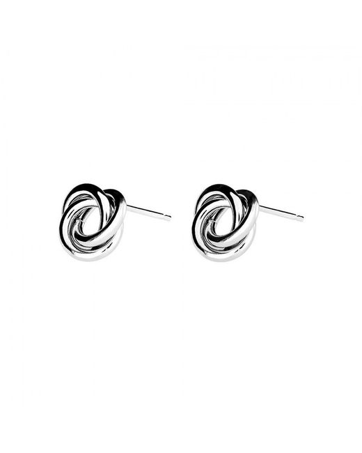 Azendi | Metallic Sterling Silver Knot Stud Earrings | Lyst