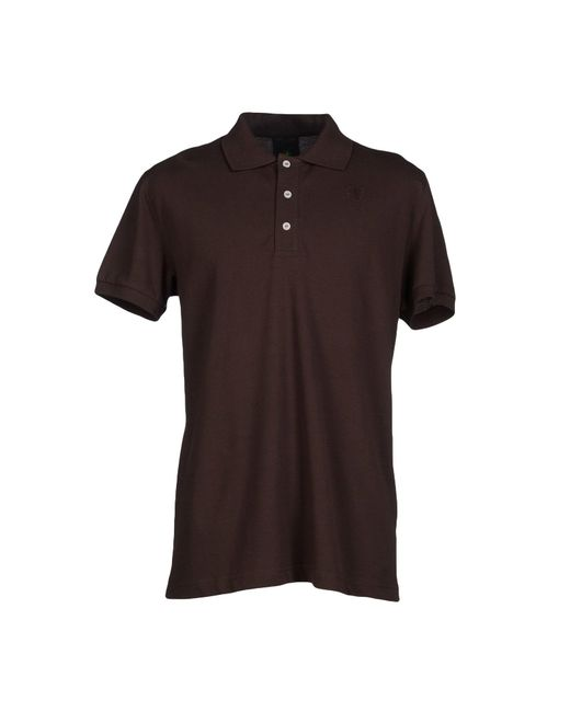Bikkembergs polo shirt in brown for men dark brown lyst for Black brown mens shirts