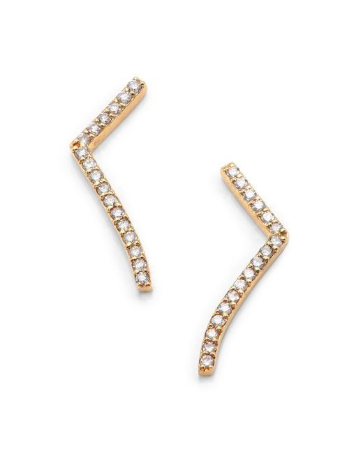 Phyne By Paige Novick | Metallic Elisabeth Diamond & 14k Yellow Gold Short Curved Bar Earrings | Lyst