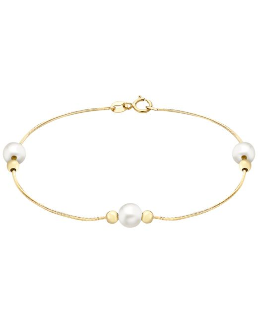 John Lewis | Metallic 9ct Yellow Gold Pearl Ball Bead Snake Chain Bracelet | Lyst