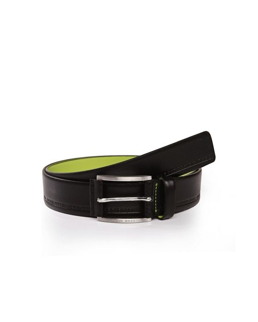 BOSS Green | Black Distinctively Textured Leather Belt With Embossed Logos: 'tymos' for Men | Lyst