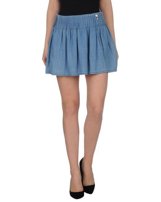 set denim skirt in blue save 68 lyst