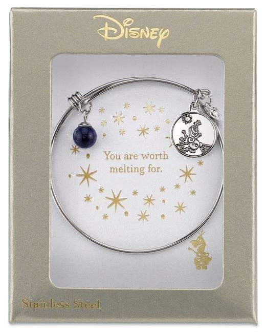 Disney | Metallic Frozen Olaf Charm Bangle Bracelet In Stainless Steel With Silver-plated Charms | Lyst