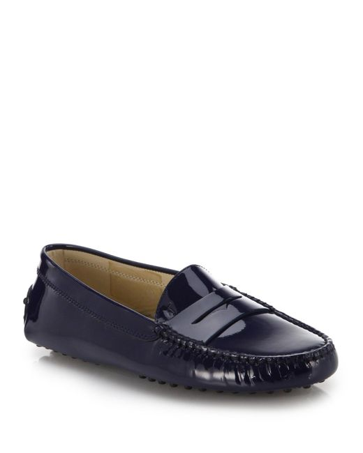 Tod's | Blue Gommini Patent Leather Drivers | Lyst
