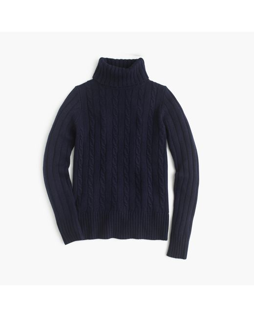 J.Crew | Blue Cambridge Cable Chunky Turtleneck Sweater | Lyst