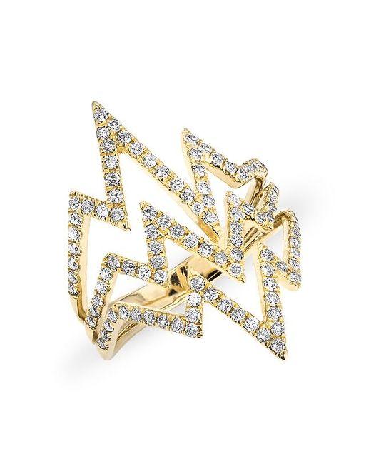 Anne Sisteron - Metallic 14kt Rose Gold Diamond Triple Heartbeat Ring - Lyst