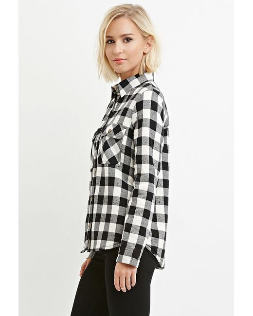 Forever 21 | Black Faux Shearling Plaid Jacket | Lyst
