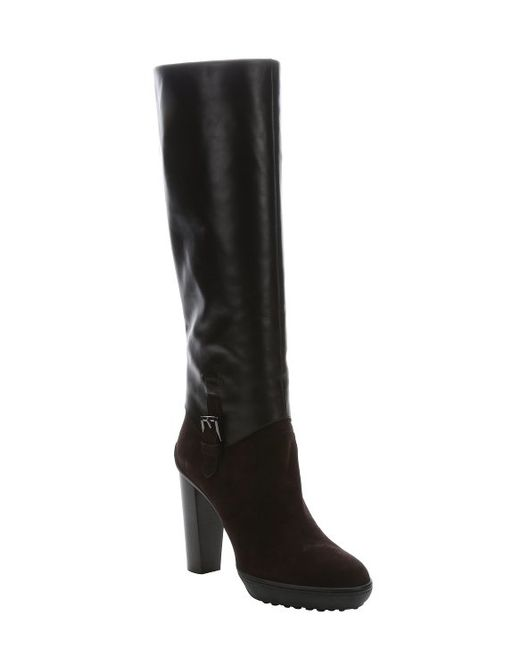 tod s brown leather and suede knee high pull on boots in