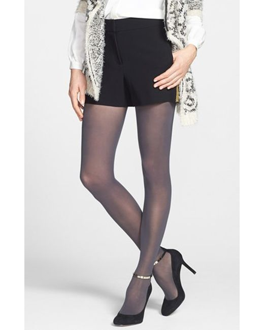 dkny light opaque control top tights in gray flannel grey. Black Bedroom Furniture Sets. Home Design Ideas