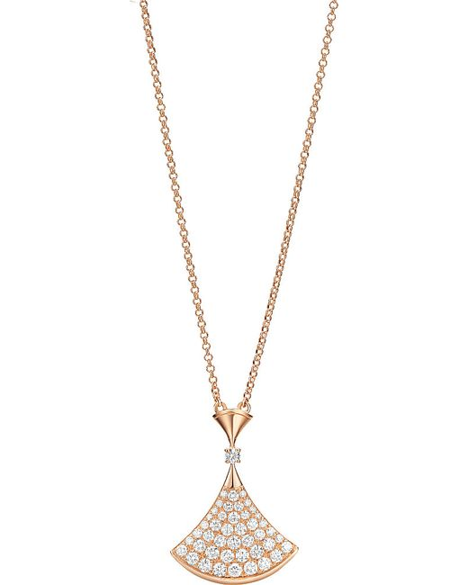 BVLGARI | Divas' Dream 18kt Pink-gold Necklace With Pavé Diamonds | Lyst