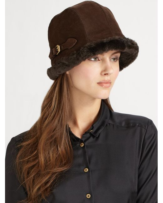 Eric Javits | Black Vail Suede & Faux Shearling Hat | Lyst
