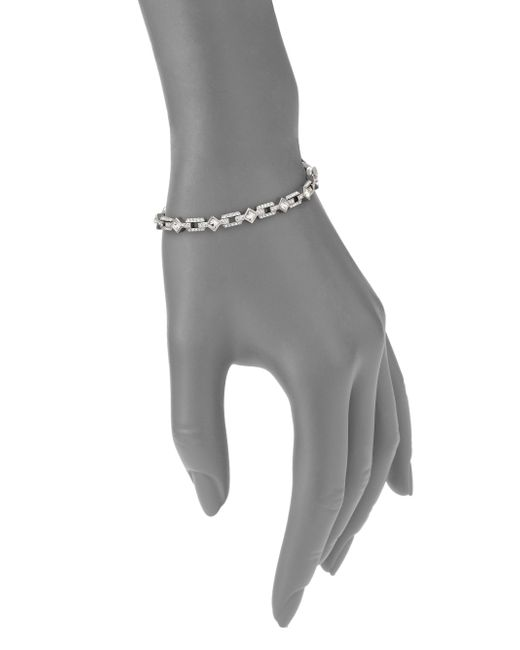 Adriana Orsini   Metallic Pave Crystal Thin Line Bracelet   Lyst