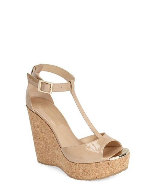 Jimmy Choo | Natural 'pela' Cork Wedge Sandal | Lyst