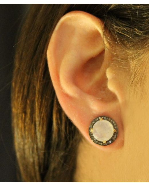 Adornia   White Moonstone And Champagne Diamond Echo Stud Earrings   Lyst