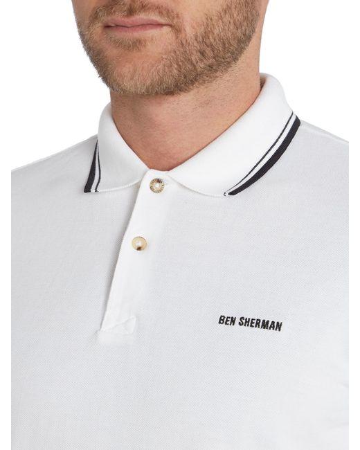 Ben Sherman | White Block Font Pique Polo Shirt for Men | Lyst