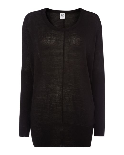 Vero Moda | Black Long Sleeve Crew Neck Oversized Knit Jumper | Lyst