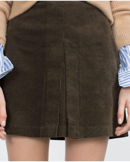 zara a line skirt in khaki lyst