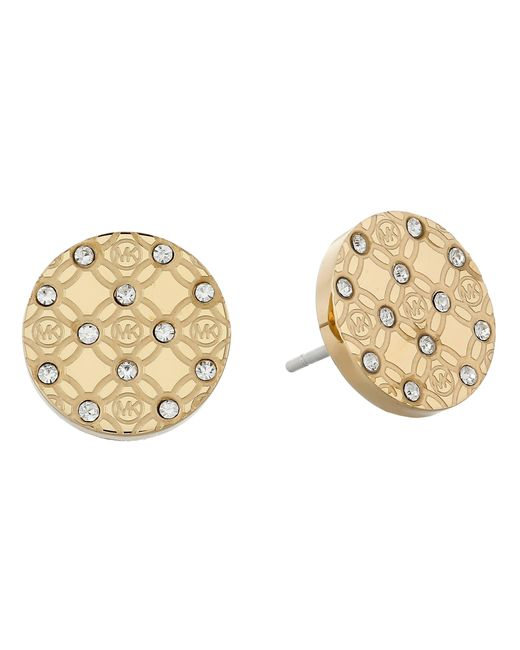 Michael Kors | Metallic Monogram Stud Earrings | Lyst