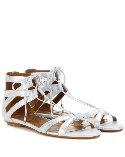 Aquazzura Beverly Hills Metallic Suede Sandals In Silver
