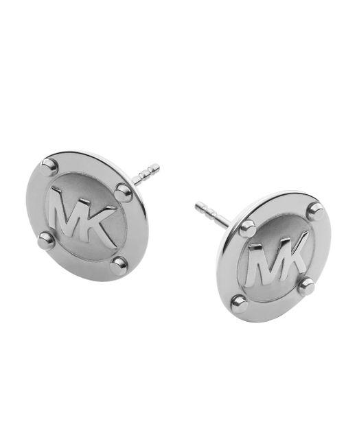 Michael Kors   Metallic Heritage Silver Astor Stud Earrings   Lyst