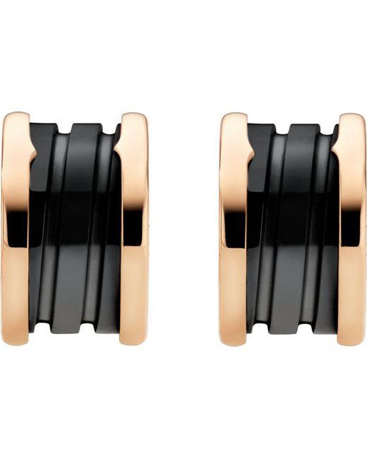 BVLGARI | B.Zero1 18Ct Pink-Gold Earrings With Black Ceramic - For Women | Lyst