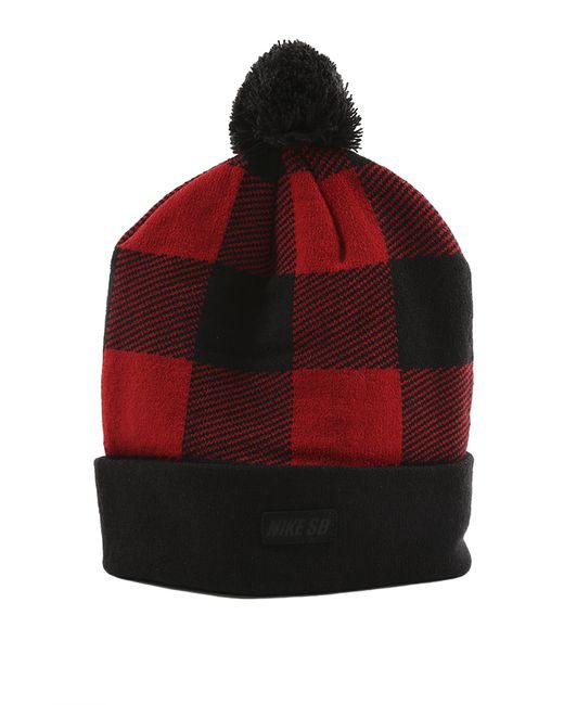 nike sb buffalo plaid pom beanie in red for men lyst. Black Bedroom Furniture Sets. Home Design Ideas