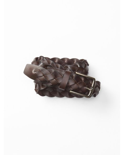gap braided leather belt in brown for lyst
