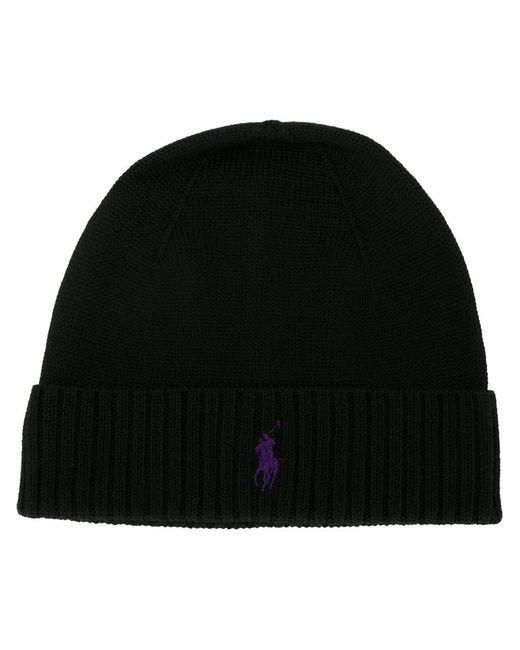 Polo Ralph Lauren | Black Logo Embroidered Beanie for Men | Lyst