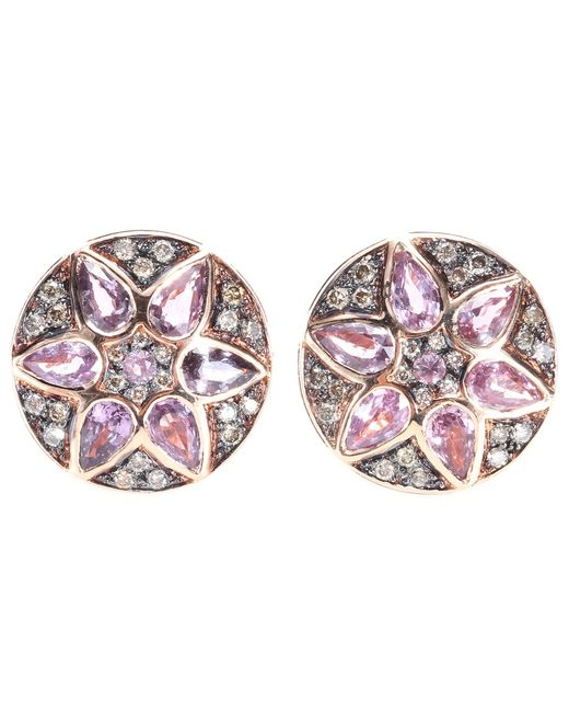 Ileana Makri | Deco Flower 18kt Rose Gold Stud Earrings With Pink Sapphires And Brown Diamonds | Lyst