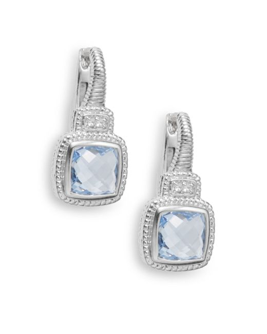 Judith Ripka | Natalie Blue Quartz, White Sapphire & Sterling Silver Cushion Drop Earrings | Lyst