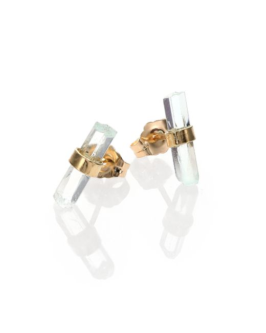 Jacquie Aiche | Metallic Aquamarine & 14k Yellow Gold Small Bar Stud Earrings | Lyst