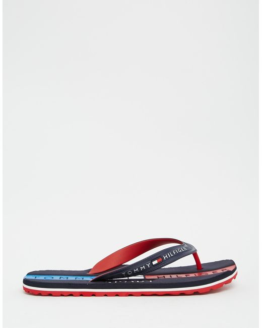 tommy hilfiger flip flops in white for men blue lyst. Black Bedroom Furniture Sets. Home Design Ideas