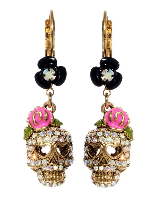 Betsey Johnson | Metallic Crystal Skull And Flower Drop Earrings | Lyst