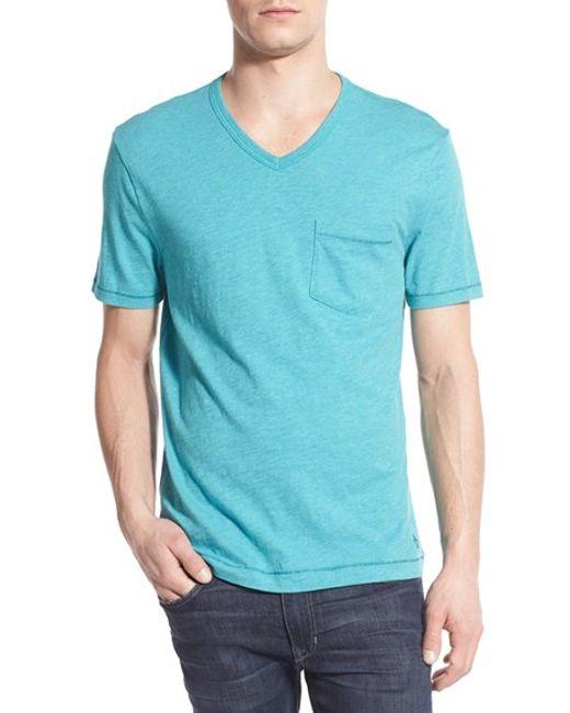 Original penguin v neck pocket t shirt in blue for men for Men s v neck pocket tee shirts