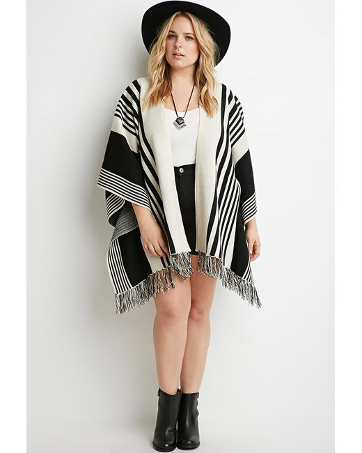 Forever 21 | Black Plus Size Mixed Stripe Fringed Poncho | Lyst