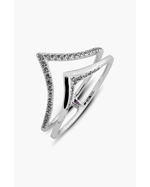 Bony Levy | Metallic 2-row V Diamond Ring (limited Edition) (nordstrom Exclusive) | Lyst