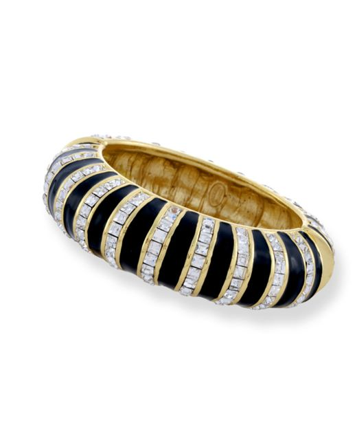 Kenneth Jay Lane | Metallic Black & Crystal Striped Bracelet | Lyst