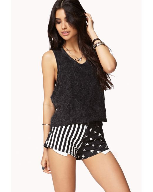 Forever 21 | Black Stars & Stripes Denim Cutoffs | Lyst