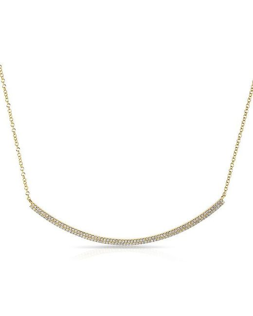 Anne Sisteron - Metallic 14kt Yellow Gold Diamond Double Sleek Crescent Necklace - Lyst