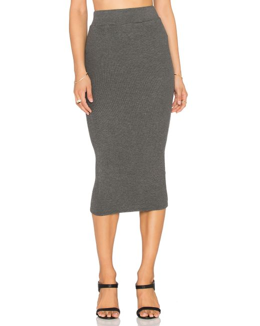 bobi cozy spandex pencil skirt in gray save 71 lyst