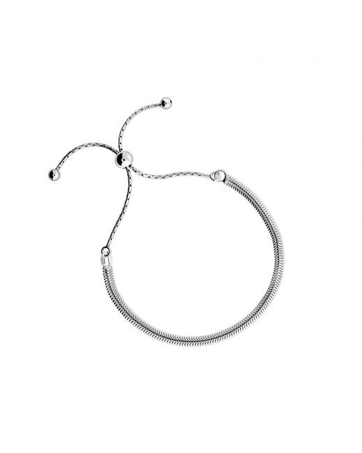 Azendi | Metallic Silver Adjustable Flat Chain Bracelet | Lyst