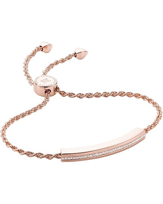 Monica Vinader | Pink Linear 18ct Gold-plated Diamond Chain Bracelet | Lyst