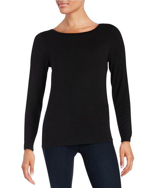 Calvin Klein | Black Liquid Jersey Long Sleeved Top | Lyst