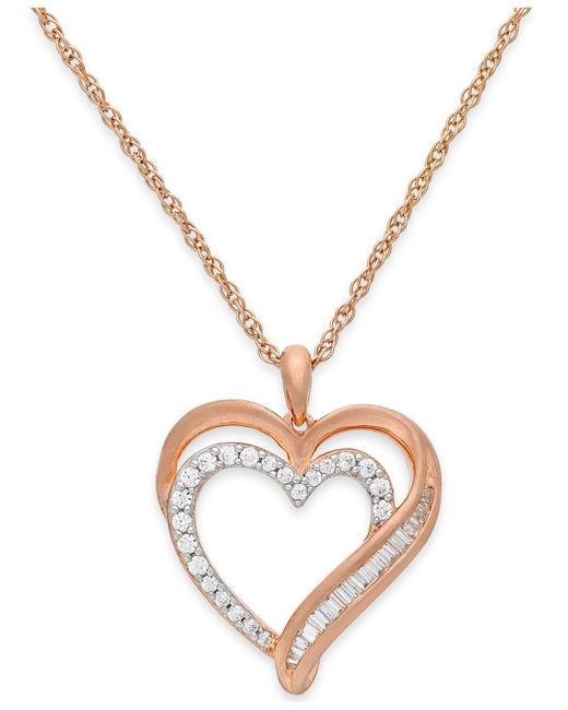 Macy S Diamond Heart Pendant Necklace In 10k Rose Gold 1 4 Ct T W In Pink Rose Save 35