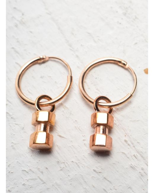 Lily Kamper | Pink Hexagon Mini Block Hoop Earring In Rose Gold | Lyst