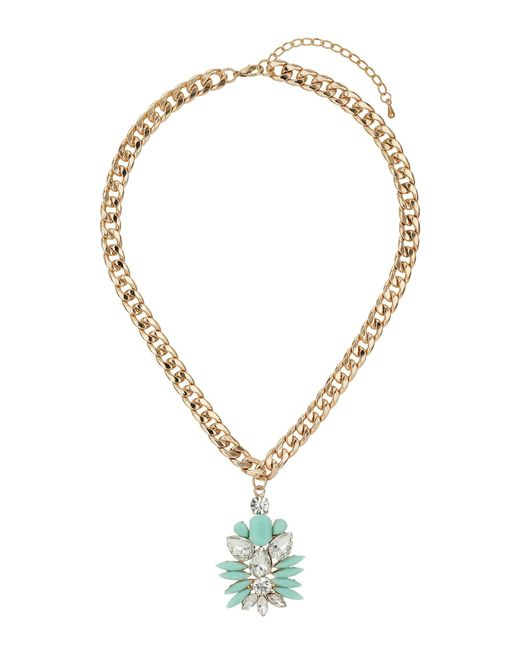 Mikey   Metallic Enamel Flower With Crystals Necklace   Lyst